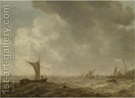 An Estuary Scene With Small Vessels In A Choppy Sea by Jan van Goyen - Reproduction Oil Painting