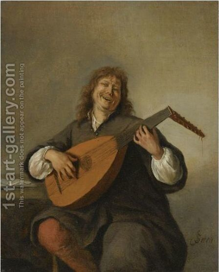 Self Portrait With A Lute by Jan Havicksz. Steen - Reproduction Oil Painting