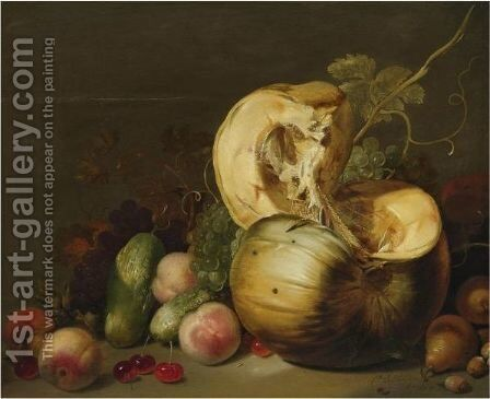A Still Life With A Pumpkin, Peachs, Grapes, Cherries And Other Fruit by Hans Bollongier - Reproduction Oil Painting