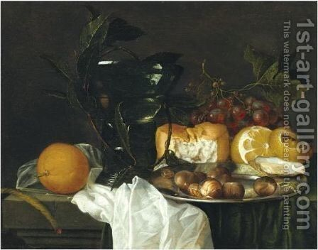Still Life With A Roemer, A Peeled Lemon, Bread, An Oyster And Chestnuts On A Pewter Dish by Jan Davidsz. De Heem - Reproduction Oil Painting