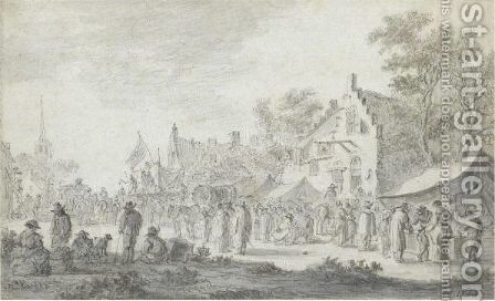A Village Market With Players by Jan van Goyen - Reproduction Oil Painting