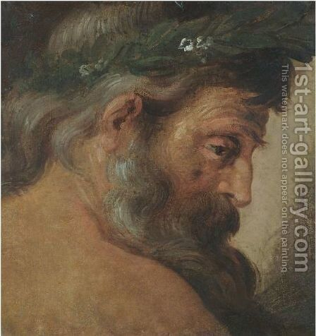 Profile Study Of The Head Of A Bearded Man, Wearing A Laurel Wreath ('The River Tiber') by (after) Sir Peter Paul Rubens - Reproduction Oil Painting