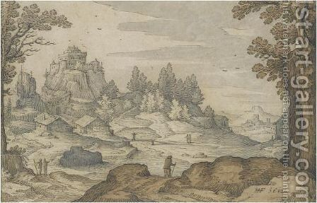 A Mountainous Landscape With Travellers, A Hill-Top Castle In The Distance by Hans Friedrich Schorer - Reproduction Oil Painting