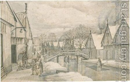 A Street In Jisp On A Winter's Day by Abraham Rutgers - Reproduction Oil Painting