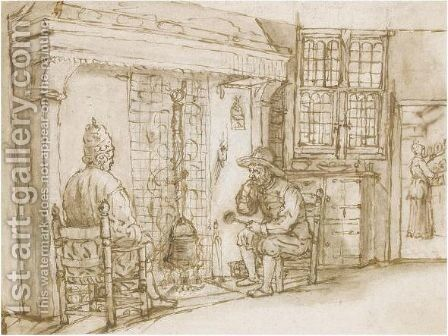 Two Men, One Elaborately Dressed, Before A Fireplace, A Woman In A Kitchen Beyond by (after) Cornelis De Man - Reproduction Oil Painting