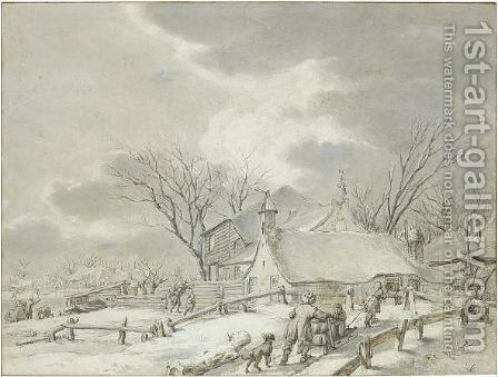 Winter Landscape With Peasants With A Sledge By A Farm, A Town Beyond by Jacob Cats - Reproduction Oil Painting