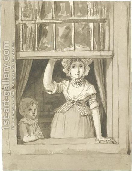 A Woman Standing At An Open Sash Window, A Small Boy Beside Her by Anthonie Andriessen - Reproduction Oil Painting