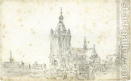 View Of The Cathedral At Arnhem by Jan van Goyen - Reproduction Oil Painting
