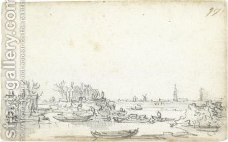 The Breach Of The Dike At Houtewael by Jan van Goyen - Reproduction Oil Painting