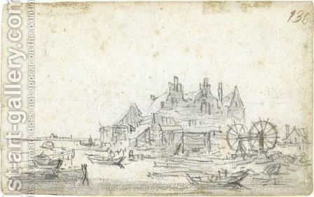 A Three-Gabled House On The Edge Of A Canal, With A Boat-Lifting Mechanism To The Right by Jan van Goyen - Reproduction Oil Painting