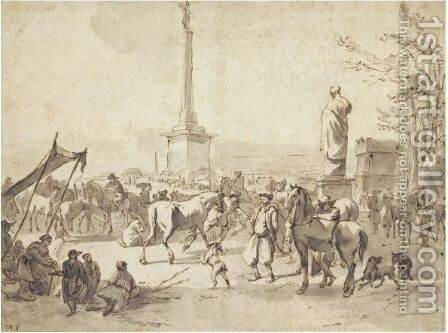 A Horse Market With Arabian Merchants In The Campo Vaccino, Rome by Hendrick Verschuring - Reproduction Oil Painting