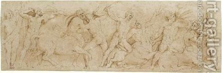 The Battle Of The Centaurs And The Lapiths by Battista Franco - Reproduction Oil Painting