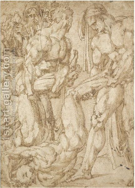 Two Male Nudes Dragging The Bodies Of Two Others, A Group Of Mourners To The Left by Baccio Bandinelli - Reproduction Oil Painting
