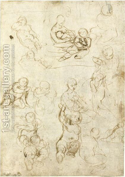 Studies Of The Madonna And Child And St. John The Baptist Holding A Lamb, And A Sketch Of A Child Holding A Dog by (after) Federico Fiori Barocci - Reproduction Oil Painting