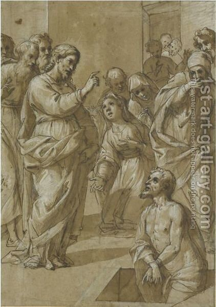 The Raising Of Lazarus by (after) Avanzino Nucci - Reproduction Oil Painting