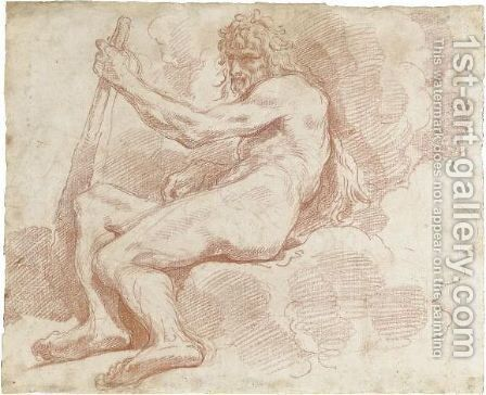 A Seated Hercules by Giuseppe Maria Crespi - Reproduction Oil Painting