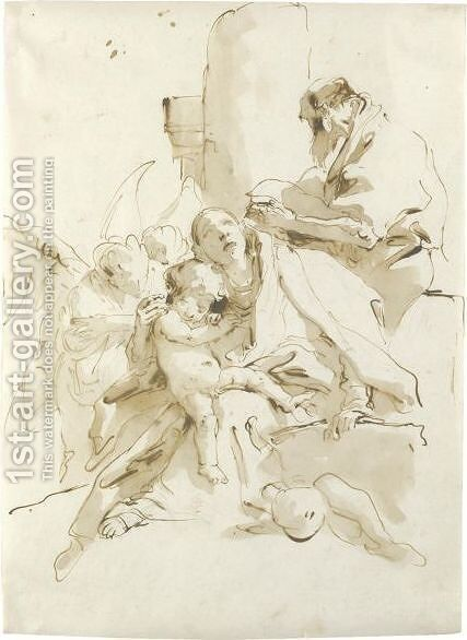 The Holy Family, St. Joseph Reading And Two Angels In The Background by Giovanni Battista Tiepolo - Reproduction Oil Painting