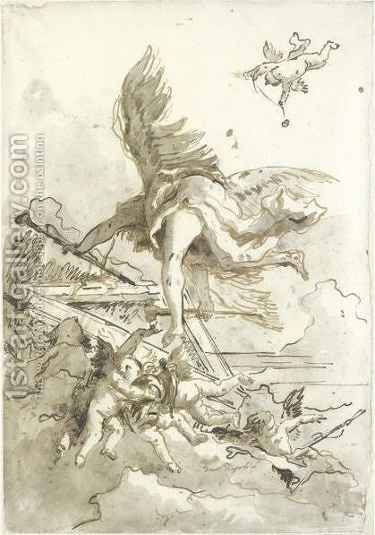 Fame, Surrounded By Putti, Seen From Below, Flying Around A Pediment by Giovanni Domenico Tiepolo - Reproduction Oil Painting