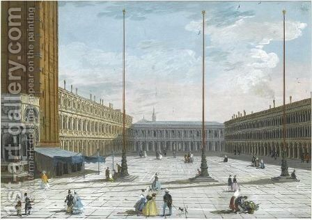 A View Of Piazza San Marco, Looking West by Giuseppe Bernardino Bison - Reproduction Oil Painting