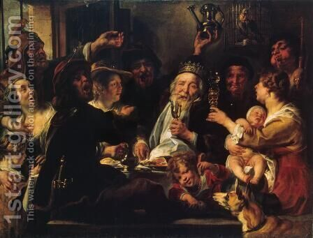 The Bean King by Jacob Jordaens - Reproduction Oil Painting