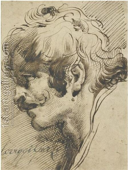 Head Of A Man, With A Moustache, Turned Left by Mauro Gandolfi - Reproduction Oil Painting