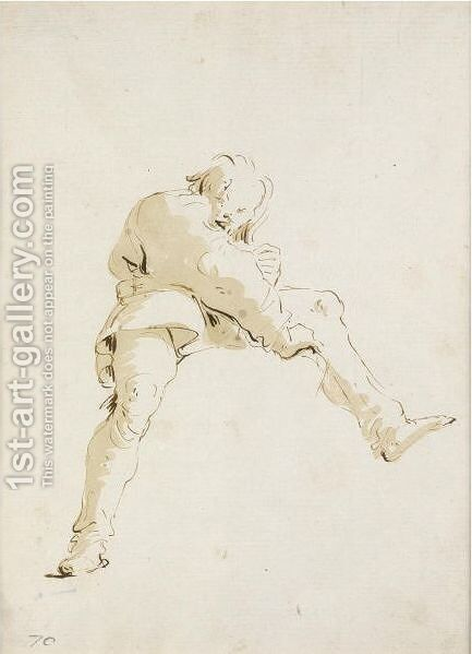 A Young Man, Seen From Below, Straddling A Cloud by Giovanni Battista Tiepolo - Reproduction Oil Painting