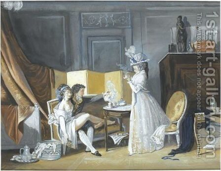 A Young Couple Drinking Chocolate, With A Madame Looking On by (after) Jean-Baptiste Mallet - Reproduction Oil Painting