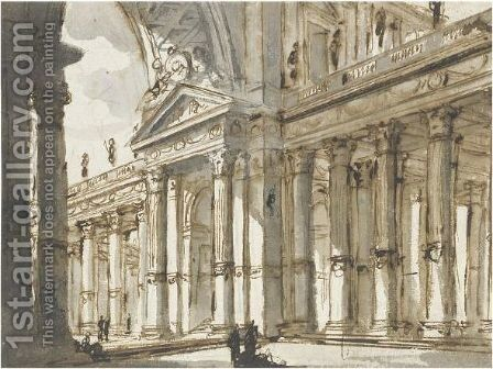 An Architectural Composition With An Arch And Colonnade by Charles Michel-Ange Challe - Reproduction Oil Painting