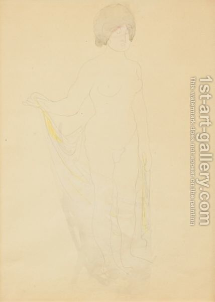 Femme Nue, Tenant Un Voile De Sa Main Droite by Auguste Rodin - Reproduction Oil Painting