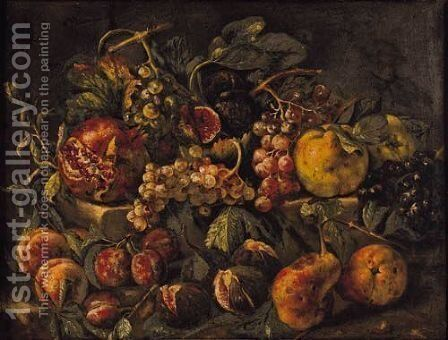 Still Life With Figs, Pomegranates, Quinces, Grapes And Plums On A Stone Ledge by Ecole Francaise, Xixeme Siecle - Reproduction Oil Painting