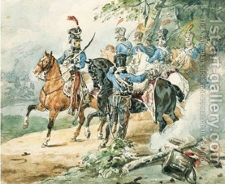 Grand Garde Du Premier De Hussards by Theodore Gericault - Reproduction Oil Painting