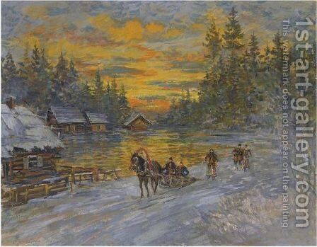 Troika At Sunset by Konstantin Alexeievitch Korovin - Reproduction Oil Painting