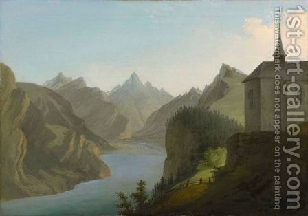 View From Mount Seelis To Lake Uri Towards Altdorf, 1777 by Caspar Wolf - Reproduction Oil Painting