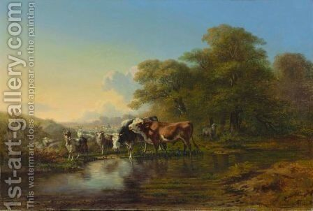 Cattle And Goats, 1852 by Charles Humbert - Reproduction Oil Painting