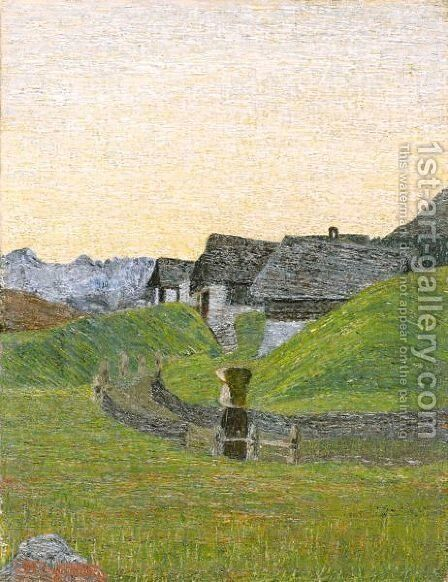 Alpenlandschaft  Alpine Landscape by Mario Segantini - Reproduction Oil Painting