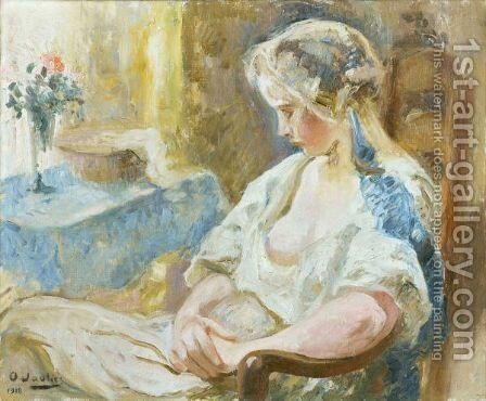 Jeune Fille Assise Young Lady Sitting by Otto Vautier - Reproduction Oil Painting