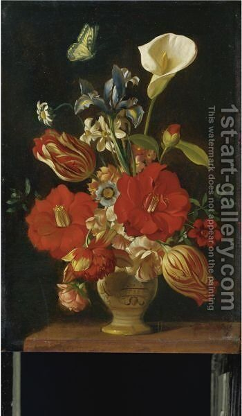 Still Life Of Tulips, Lilies, An Iris And Other Flowers In A Vase by Dutch School - Reproduction Oil Painting