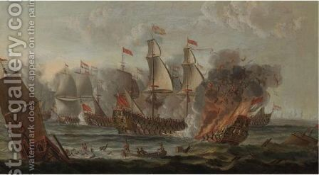 The Battle Of Lowestoft, The Second Dutch War, 1665 by (after) Adriaen Van Diest - Reproduction Oil Painting