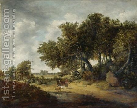 Travelers On A Sandy Road by (after) Jan Vermeer Of Haarlem - Reproduction Oil Painting