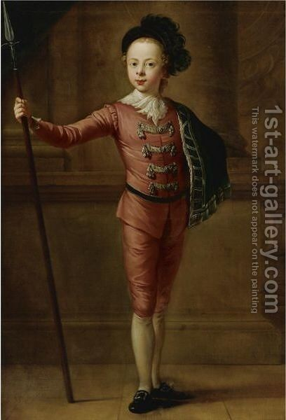 Portrait Of A Young Boy In Fancy Dress by (after) Francis Hayman - Reproduction Oil Painting