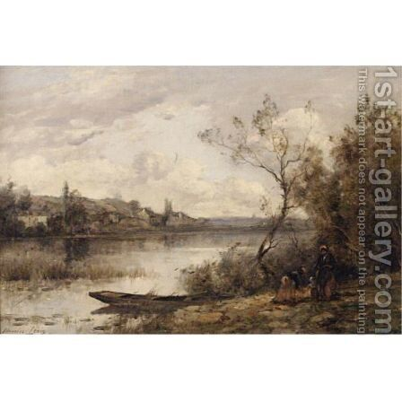 On The Riverbank by Maurice Levis - Reproduction Oil Painting
