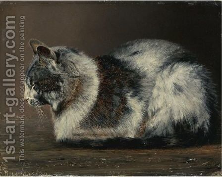 Cat by (after) Ivan Pavlovich Pokhitonov - Reproduction Oil Painting