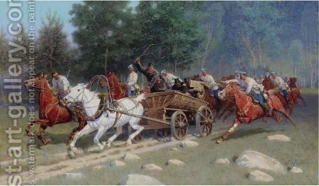 Cavalry On The Attack by Ivan Petrovich Pryanishnikov - Reproduction Oil Painting