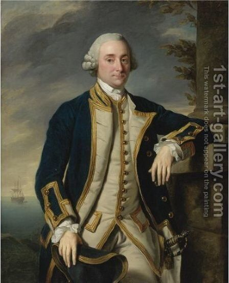 Portrait Of Admiral Sir Hugh Palliser, 1st Bart. (1722-1796) by Sir Nathaniel Dance-Holland - Reproduction Oil Painting