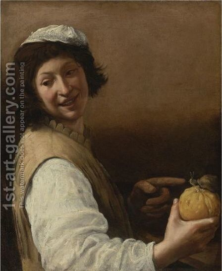 Laughing Young Man With A Melon And Snail by (after) Pietro Paolo Bonzi - Reproduction Oil Painting