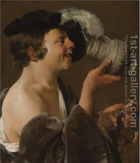 Boy In Profile, Drinking From A Tankard by Hendrick Terbrugghen - Reproduction Oil Painting