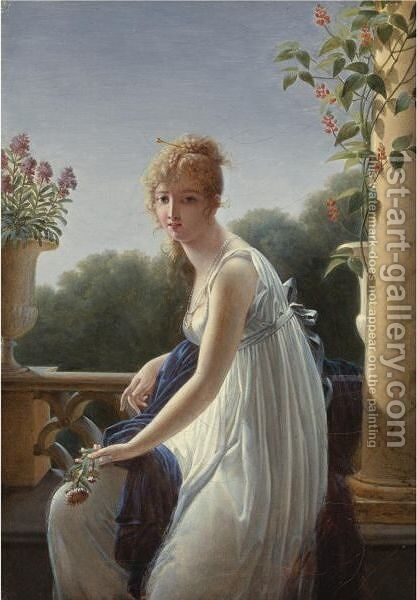 A Young Woman Seated By A Window by Marie-Denise Villers - Reproduction Oil Painting