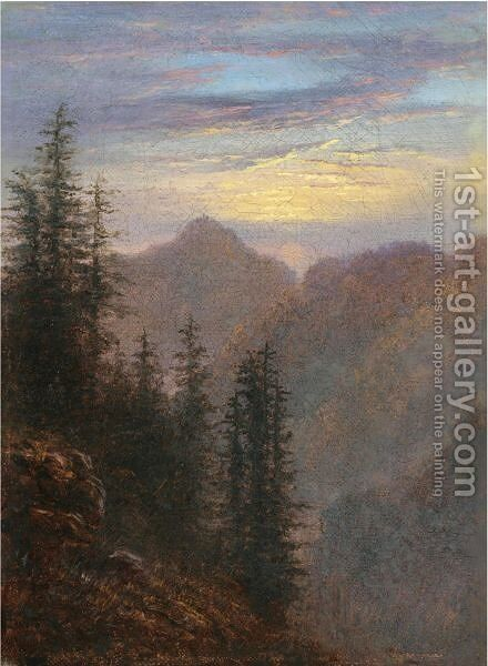 Mountain Landscape At Dusk by Carl Gustav Carus - Reproduction Oil Painting