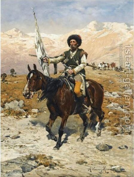 A Caucasian Chief by Alfred Wierusz-Kowalski - Reproduction Oil Painting