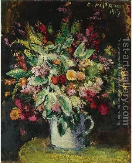 Blumen Stillleben (Still Life With Flowers) by Anton Faistauer - Reproduction Oil Painting